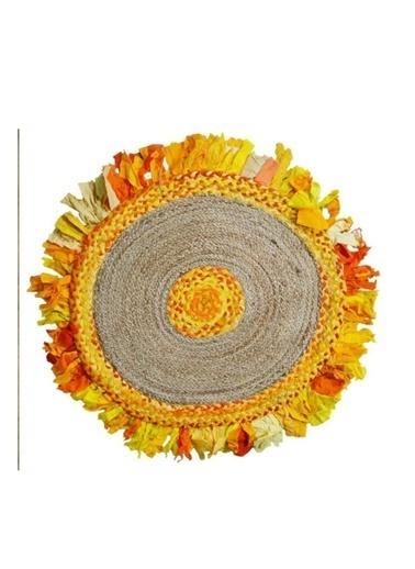 Giz Home Bolero Jüt Örgü Halı 90X90 Y8-459 Yuvarlak Püsküllü Sarı Sarı